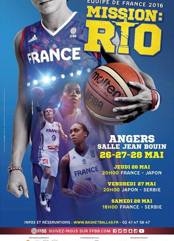 Basket : Tournoi de préparation au TQO (Tournoi Qualificatif Olympique) de l'équipe de France féminine les 26, 27 et 28 mai 2016 à Angers