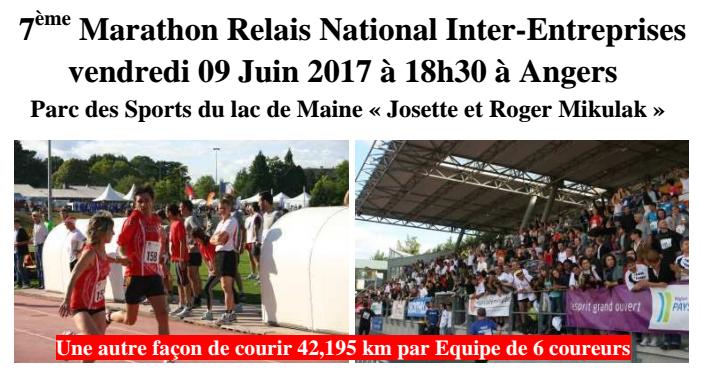La 7e Édition du Marathon Relais Inter-Entreprises aura lieu, le Vendredi 9 Juin 2017.