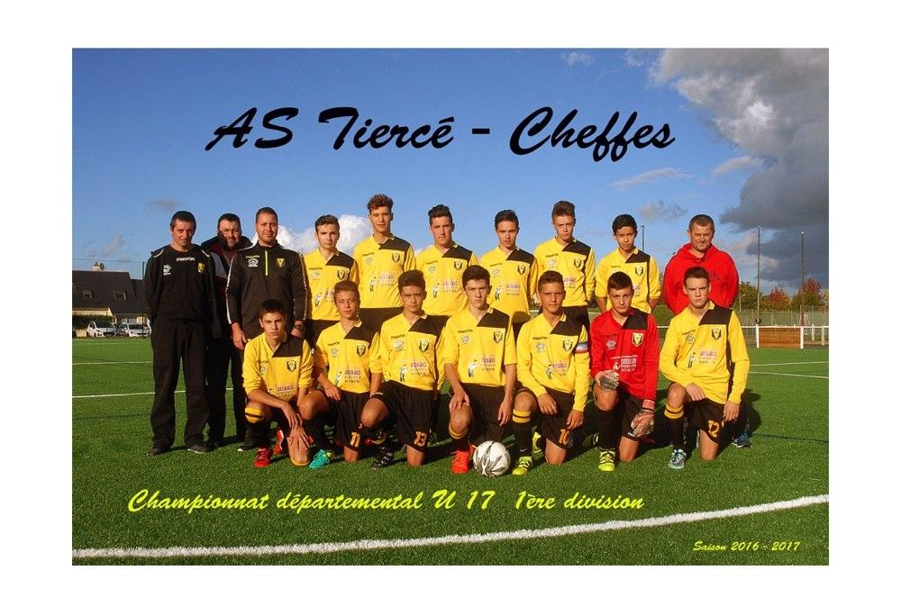 Coupe de l'Anjou (8e de finale) : Les U17 de l'AS Tiercé-Cheffes se qualifient à Saint-Sylvain (5-2).