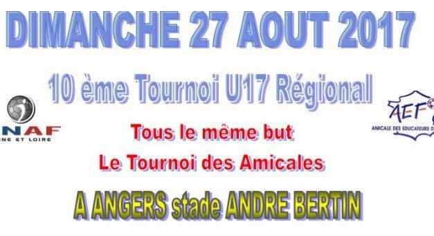 10ème édition du tournoi «Tous le Même But» le Dimanche 27 Août 2017 au Stade André Bertin à Angers.