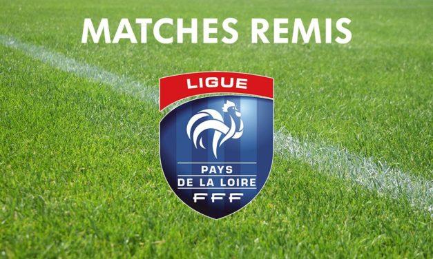 Récapitulatif de tous les matchs remis, au niveau Ligue, pour les équipes du Maine-et-Loire.