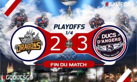 Ligue Magnus (play-offs / Match 2) : Angers égalise dans la série en s'imposant à Rouen (3-2).