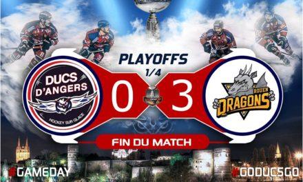 Ligue Magnus (play-offs / match 3) : Rouen fait la différence à Angers, dans le troisième tiers-temps (0-3).