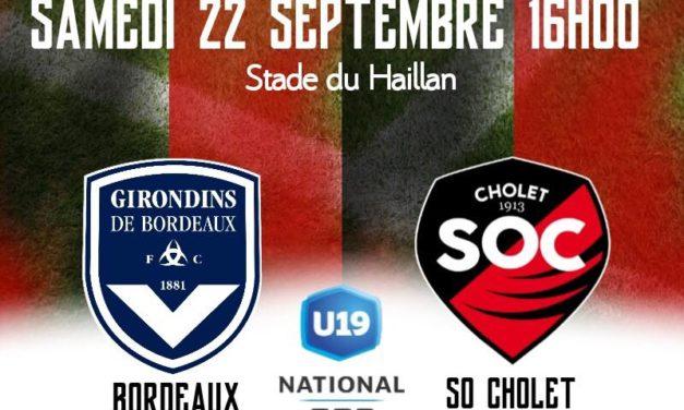 National U19 (5e journée) : Le SO Cholet veut aller chercher sa première victoire à Bordeaux.
