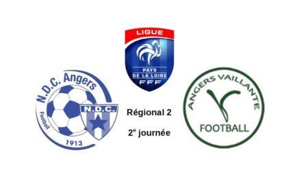 R2 (2e journée) : Premier derby angevin de la saison pour Angers NDC et la Vaillante.