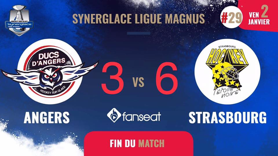 Ligue Magnus (29e journée) : Grosse désillusion pour Angers face à Strasbourg (3-6).