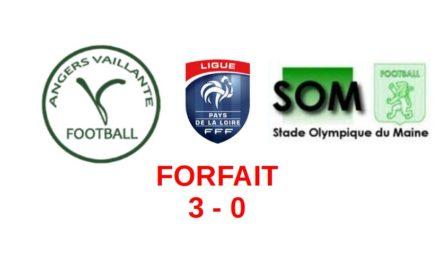 R2 (19e journée) : Victoire par forfait de la Vaillante d'Angers face au Mans SO Maine (3-0).